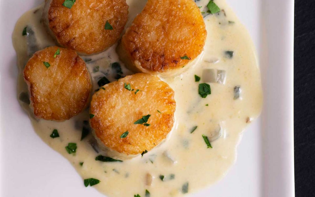 Scallops with White Wine Sauce